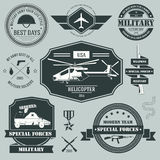 Military set label template of emblem element for Stock Photography