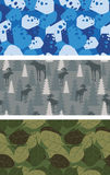Military set of textures. Winter blue Camo made of cheese. Grey Camouflage army seamless Moose and trees. Soldiers seamless background from leaves Stock Images