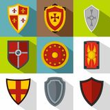 Military shield icons set, flat style Royalty Free Stock Photo