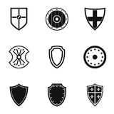 Military shield icons set, simple style Royalty Free Stock Images