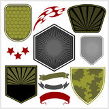Military shields and elements - vector set Royalty Free Stock Photo