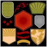 Military shields and elements - vector set Stock Photos