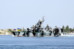 Military ship. Warship in the Black Sea Stock Image