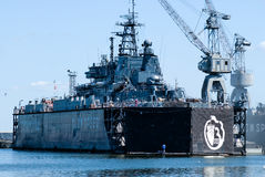 Military ship in Baltiysk dry dock Stock Image