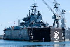 Military ship in Baltiysk dry dock Stock Image
