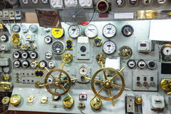 Military ship control panel with gauges. Royalty Free Stock Photography