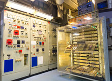 Military ship electricity gauge. Military ship electric control panel, electricity gauge royalty free stock photos