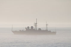 Military ship. The military ship in a fog Royalty Free Stock Images