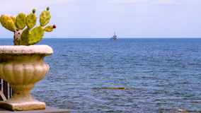Military ship founding. In the blue Mediterranean sea royalty free stock photo