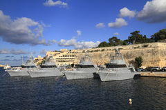 Military Ship in the Grand Harbour of Valletta Stock Photos