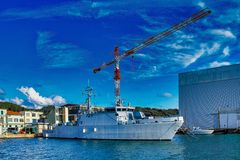 military ship in the gulf of la spezia royalty free stock images
