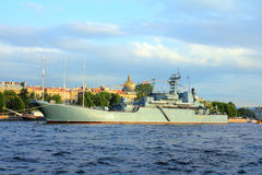 Military ship on Neva River - day of the Navy Stock Photo