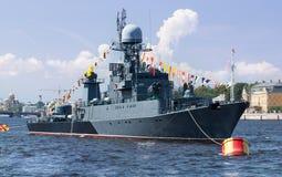 Military ship on Neva river, St. Petersburg Royalty Free Stock Photo