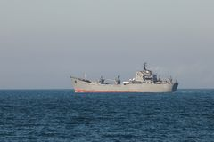 Military Ship. On the open sea Stock Photo