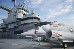 Military ship and plane on exhibit at Patriots Point. Military plane and ship on display Stock Photography