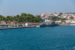 Military Ship in port. Skiathos port, September 2018 with big military ship royalty free stock photography