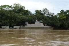 The military ship on the river Guaviare Stock Image