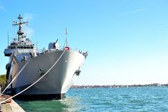 military ship in venice port Royalty Free Stock Photography