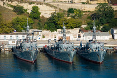 Military ships. Russian military ships in Sevastopol dock Royalty Free Stock Photos