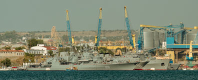 Military ships in the port Royalty Free Stock Image
