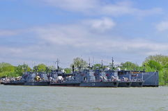 Military ships. Romanian Naval Forces - Danube river - Tulcea harbor - landmark attraction in Romania Royalty Free Stock Photography