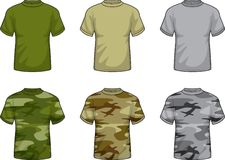 Military Shirts. A variety of military and camouflage shirts Royalty Free Stock Image