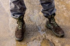 Military shoes of a soldier. royalty free stock photo