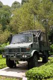 A military signal all wheel drive truck. With ultra-high frequency UHF antennae Royalty Free Stock Images