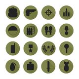 Military silhouette pictogram and war icons set Royalty Free Stock Image