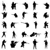 Military silhouette set Stock Photos