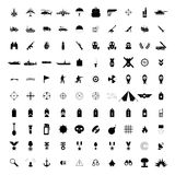 100 military simple black icons. Set  on a white Stock Image