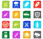 Military simply icons. Military simply symbol in grunge style for user interface design Royalty Free Stock Photos