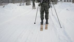 Military on skis with a guns. Clip. Group of soldiers on skis in the woods.  stock video