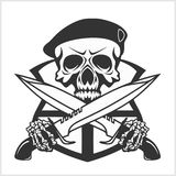 Military Skull - Chevron with daggers Royalty Free Stock Photography