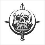 Military Skull - Chevron with daggers Stock Photos