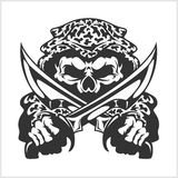 Military Skull - Chevron with daggers Stock Photo