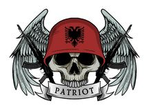 Military skull or patriot skull with ALBANIA flag Helmet Stock Photo