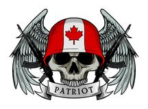 Military skull or patriot skull with CANADA flag Helmet. And Wings Background and ak47 Gun Stock Image