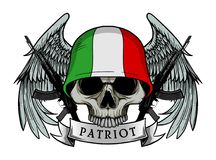 Military skull or patriot skull with Italy flag Helmet. And Wings Background and ak47 Gun Stock Photo