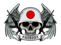 Military skull or patriot skull with JAPAN flag Helmet Stock Photos