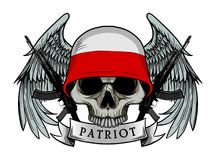 Military skull or patriot skull with POLAND flag Helmet Stock Photography