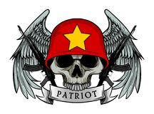 Military skull or patriot skull with VIETNAM flag Helmet Royalty Free Stock Photography