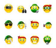 Military smilies. Set of yellow round smiles on the theme of war. Smilies in camouflage and with a variety of weapons in the hands of royalty free illustration
