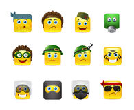 Military smilies. Set of yellow round smiles on the theme of war. Smilies in camouflage and with a variety of weapons in the hands of Royalty Free Stock Photo