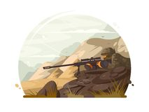 Military sniper lies in wait. With rifle optical sight. Vector illustration Royalty Free Stock Photo
