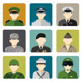 Military social network avatar icons set Royalty Free Stock Photos