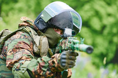 Military soldier with assault rifle patrolling Royalty Free Stock Photo