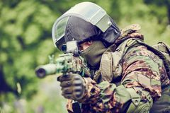 Military soldier with assault rifle Royalty Free Stock Image