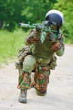 Military soldier with assault rifle Royalty Free Stock Photography