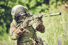 Military soldier with assault rifle Stock Image